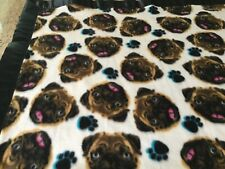 Handmade fleece pet blanket, pug faces!