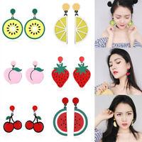 Women Creative Cute Fresh Lemon Cherry Peach Fruit Drop Ear Stud Dangle Earrings