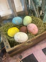 ~Set Of 6~Primitive Spring EaSTeR EGGS w/GraSS  Ornament Ornie BowL FiLLeR OOAK