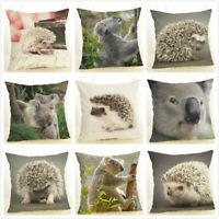 Animal Koala Hedgehog Waist Cushion Cover Linen Pillow Case Home Car Decoration