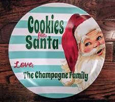 Personalized Cookies for Santa Plate - Retro Vintage Christmas - Santa Monogram