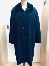Jil Sander Navy Wool Angora Coat Sheared Fur Lining  Ger38 US 10 UK 12 IT46