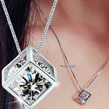 Fashion Women's 925 Sterling Silver Chain Crystal Rhinestone Pendant Necklace TO