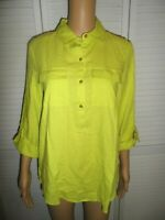 Great Ellen Tracy size S green 1/2 button front roll tab 3/4 sleeve shirt NWT