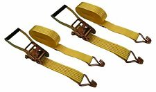 "2 Pack 2"" x 27' Ft Ratchet Tie Down Cargo Straps 5000 Lbs J Hooks Inch"