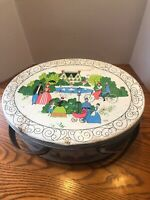 Vintage Oval Tin With Handles Ladies And Gents Cookie Tin, Sewing Tin