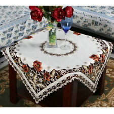 Square Vintage Embroidery Floral Tablecloth Satin Fabric  Table Cover Red 51inch