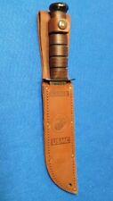 KaBar 1217 Fighting/Utility Knife USMC Leather Sheath Straight Edge