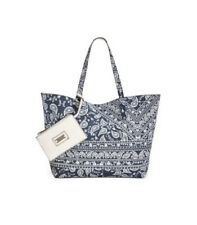 $89 Style & Co. Reversible Tote With Wristlet Paisley Garden And White