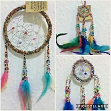Native American Dream Catcher NHS  Rainbow Coloured Beaded Feathers  Bedroom Car