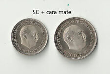 Proof  5 y 25 peseta 1957 * 74 proof mate Franco Estado Español  España Spain