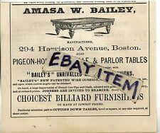 1873 Billiards AMASA W BAILEY Boston Massachusetts MANUFACTURERS Billiard tables