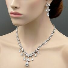 White Gold GP Clear Zirconia CZ Wedding Necklace Pendant Earrings Jewelry Set 11