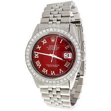 Para Hombre Rolex 36 mm Datejust Jubileo de Diamante Reloj Número Romano Rojo marcado 1.90 CT