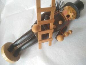 Vintage Chimney Sweep Smoking Man Original Erzgebirgische Handarbeit Handmade