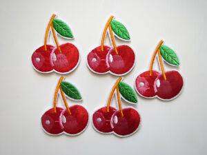 5 x Kirschen - Rockabilly - Bügelbilder Patches - Aufbügler - Obst - Früchte