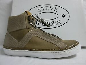 Steve Madden Size 11 M Bowne Tan Suede High Top Fashion Sneakers New Mens Shoes