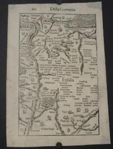 EIFEL REGION GERMANY 1554 MÜNSTER SCARCE ANTIQUE WOODCUT MAP ITALIAN EDITION