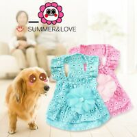Princess Clothes Summer Dog Dress Lace Flower Puppy Skirt For Chihuahua Yorkie