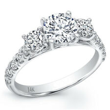 3.97CT 14K WG Round Simulated Diamond Cut Solitaire Wedding Engagement Ring