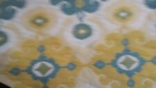 COTTON IKAT WOVEN TAPESTRY YELLOW CREAM TEAL UPHOLSTERY FABRIC