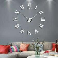 DIY 3D Wall Clock Roman Numerals Large Mirrors Surface Modern Big Art Clock UK