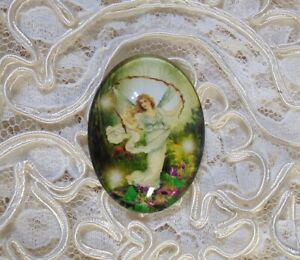 Vintage Fairy 30X40mm Glitter Unset Handmade Glass Art Bubble Cameo Cabochon