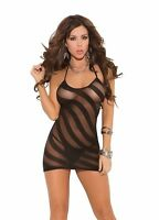Opaque Halter Style Mini Dress with Striped Mesh Burnout Lingerie 1475