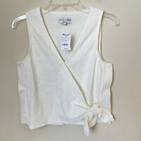 Madewell Texture Thread Sleeveless Wrap-tie Shirt Tank Top Ivory Size Small