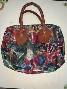 Vintage Nordic House Designs Handbag Leather Handle Purse Bag Christmas-Exl Cond
