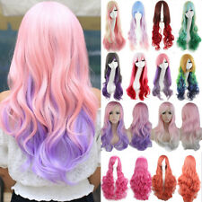 US Fancy Rainbow Costume Cosplay Wigs Long Curly Ombre Purple Red Pink White Wig