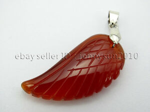 Natural Gemstone Carved Angel Wing Reiki Chakra Pendant Charms Silver Plated