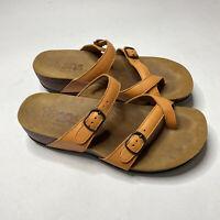 SAS Open Toe Leather Sandal Shelly Orange Size 6.5 M Comfort Shoe