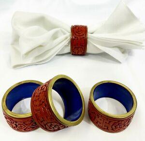 set of 4 Vintage Original Cinnabar lacquer napkin ring