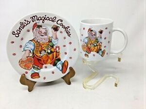 Santa's Magical Cookies Plate And Mug Cup Set Vintage Stoneware Sakura Santas