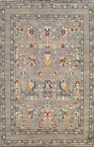 Vegetable Dye Floral Ziegler Oriental Area Rug Hand-knotted GRAY Carpet 7'x10'
