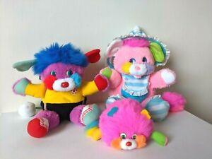 Vintage 1980s / Popples - Big Kick / Cribsy / Puffling - Plush / Soft Toy Bundle