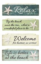 Relax By Beach Welcome Life Is Better Painted Wood Block Sign Coastal Design New
