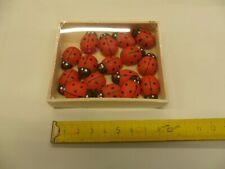 16 pezzi COCCINELLE IN LEGNO 2,5 cm con biadesivo decorazioni PASQUA pasquali