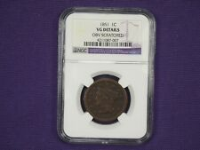 1851 Very Good VG details Braided Hair Large Cent NGC