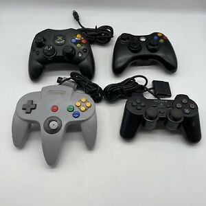 mixed Lot Ot 4 Video Game System Controllers Xbox 360,n64,OG Xbox, Ps2 For Oatts
