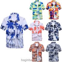 Mens Beach Hawaiian Shirts Summer Casual Short Sleeve Floral Printed Tops Blouse