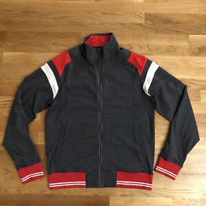 Lululemon Athletica Full Zip Track Jacket Slim Fit Men's Large L Grey Red