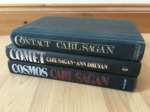 COSMOS + COMET + CONTACT LARGE HARDBACK BOOKS CARL SAGAN GOOD CONDITION