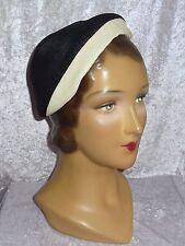 Vintage 1950s Black & Cream Straw Hat~Eddi, Stern Brothers~