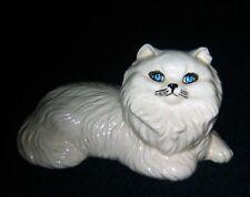 "Reclining White Ceramic Persian Kitty Cat w/Blue Eyes ~ 10"" L x 6"" W x 5"" H"