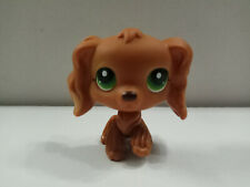 Littlest pet shop LPS Toy Brown cocker spaniel dogs green dot eyes