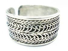 2-layer Lotus Filigree Amulet Ring Beautiful Big Adjustable Tibetan White Copper