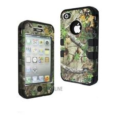 Camo Tree on Black Silicone Skin Hybrid 3 in 1 Case Hard Cover For iphone 4 4s
