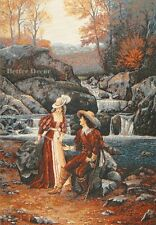 """42"""" WALL WOVEN TAPESTRY Romantic Date EUROPEAN DECOR - VICTORIAN LADY PICTURE"""